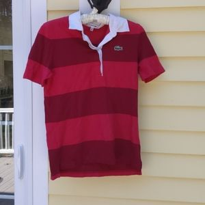 LACOSTE Red Striped Collared Short-Sleeved Shirt